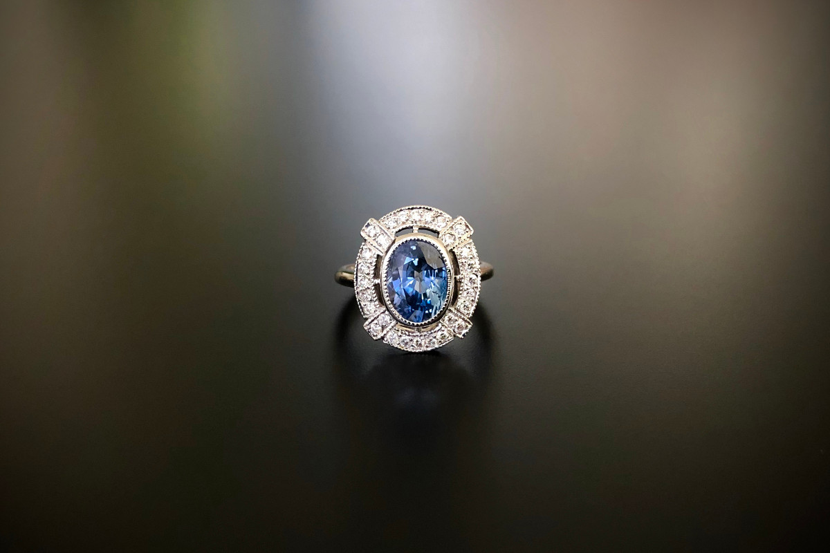 A Beautiful Sapphire and Diamond Plaque Ring