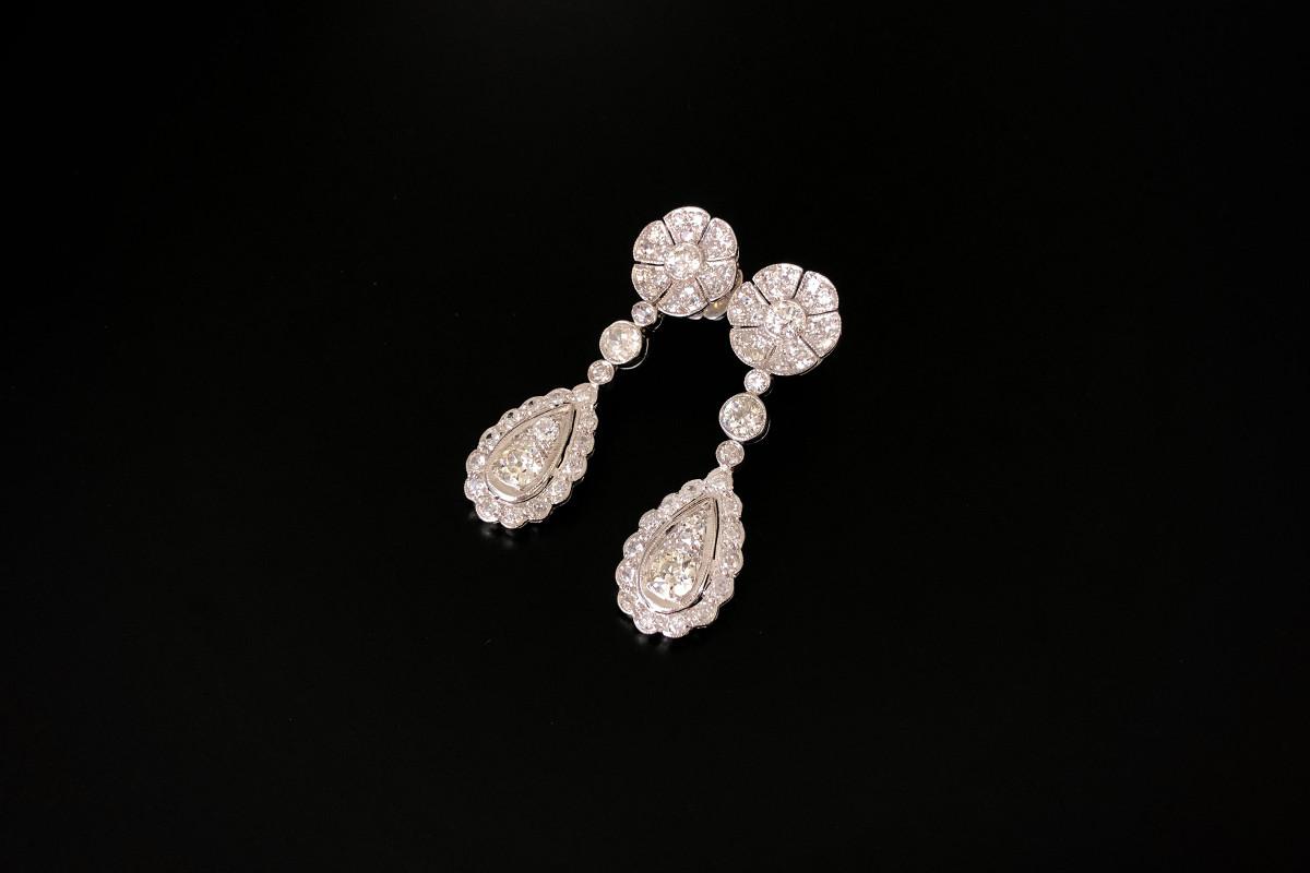 A Fabulous Pair of Diamond Pendant Drop Earrings