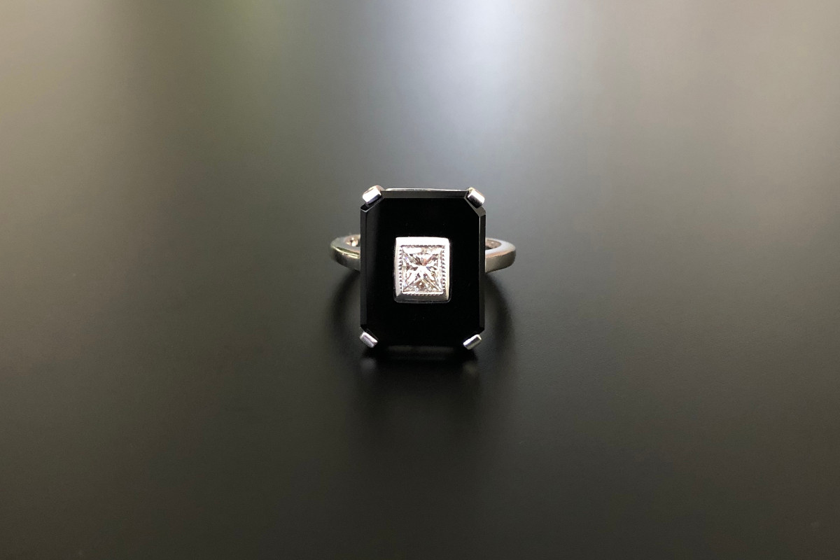 A Fabulous Onyx and Diamond Plaque Ring