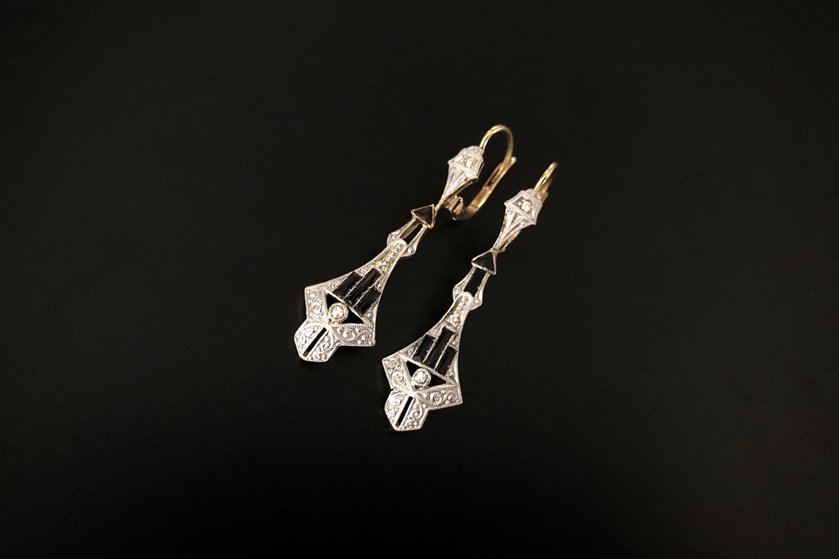 A Pair of Architectural Onyx and Diamond Pendant Earrings