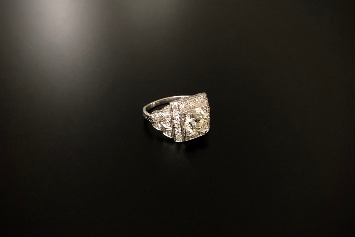 A Classic Solitaire Diamond Plaque Ring