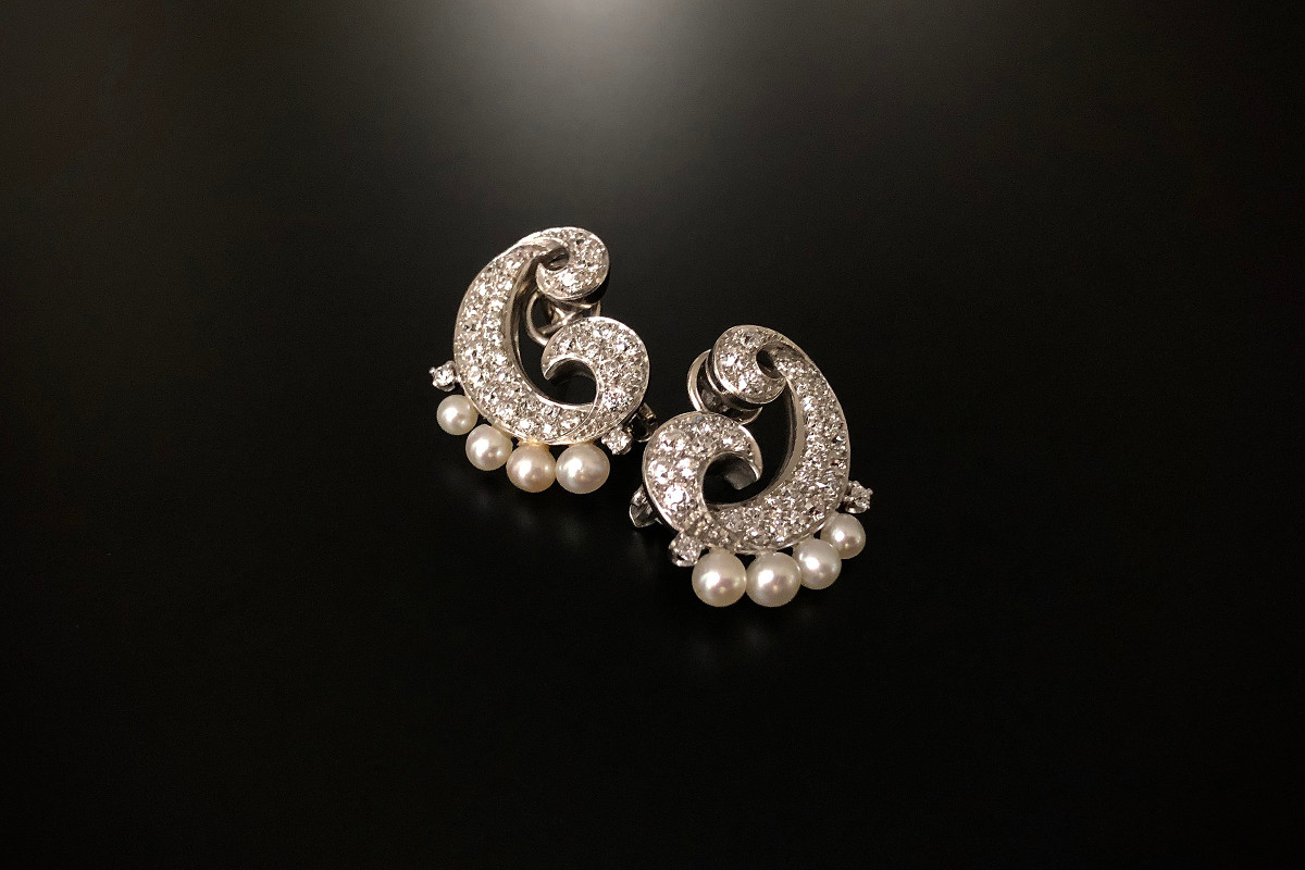 A Divine Pair of Cocktail Diamond and Pearl Ear-clips