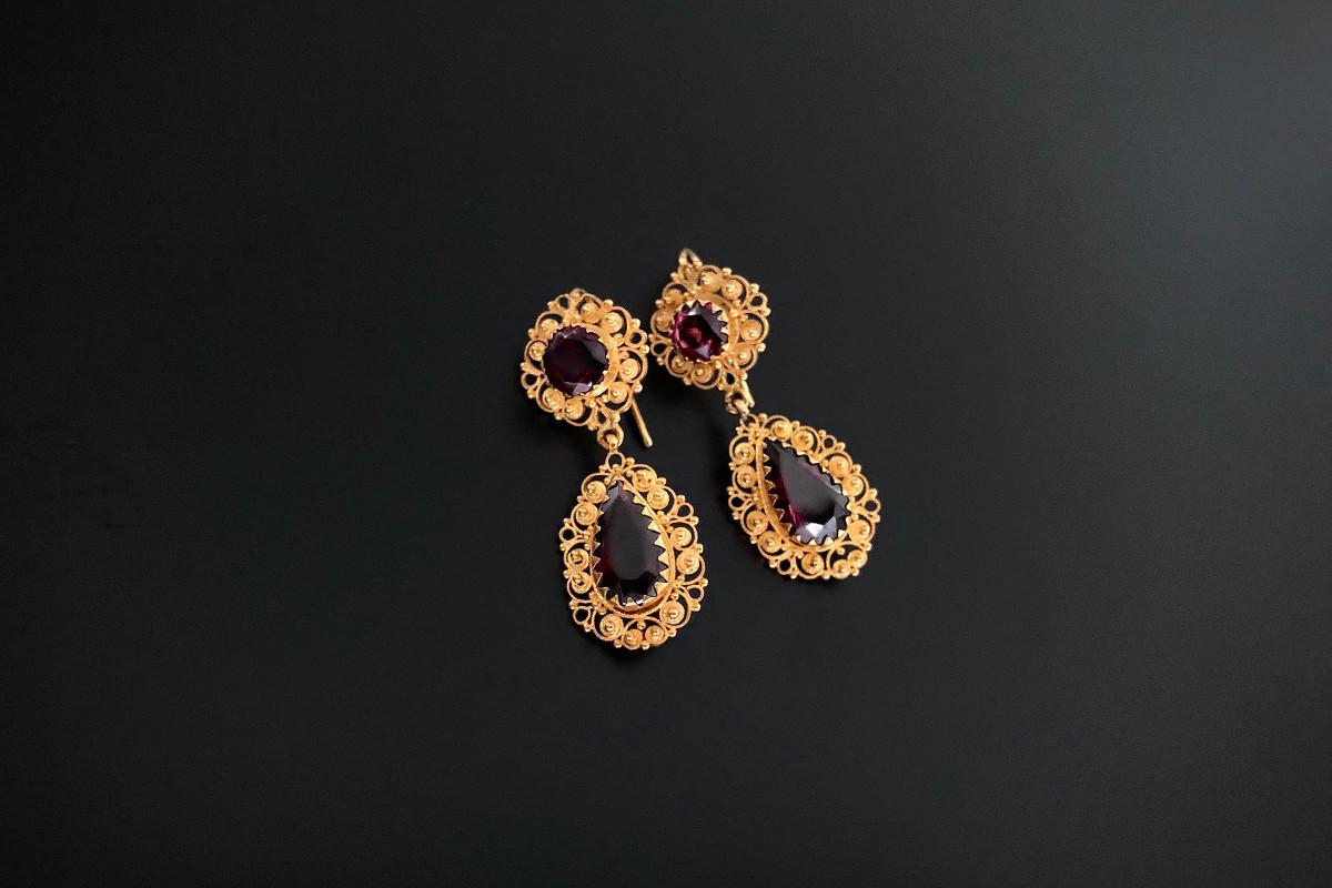 Gold Cannetille and Garnet Earrings