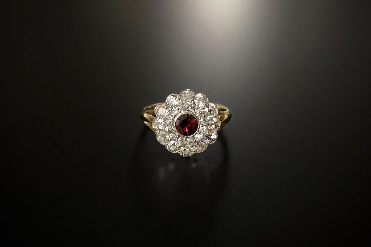 An Elegant Diamond and Garnet Cluster Ring