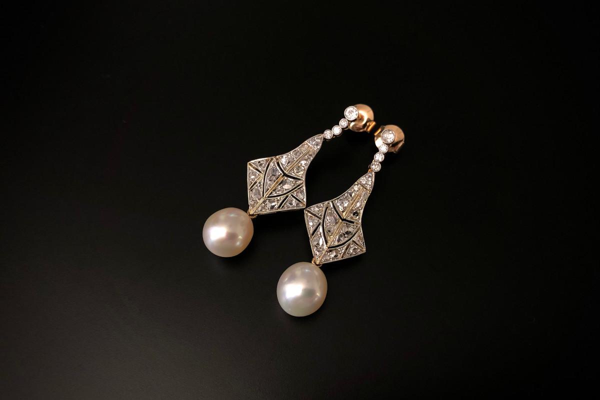 Diamond and South Sea Pearl Pendant Earrings
