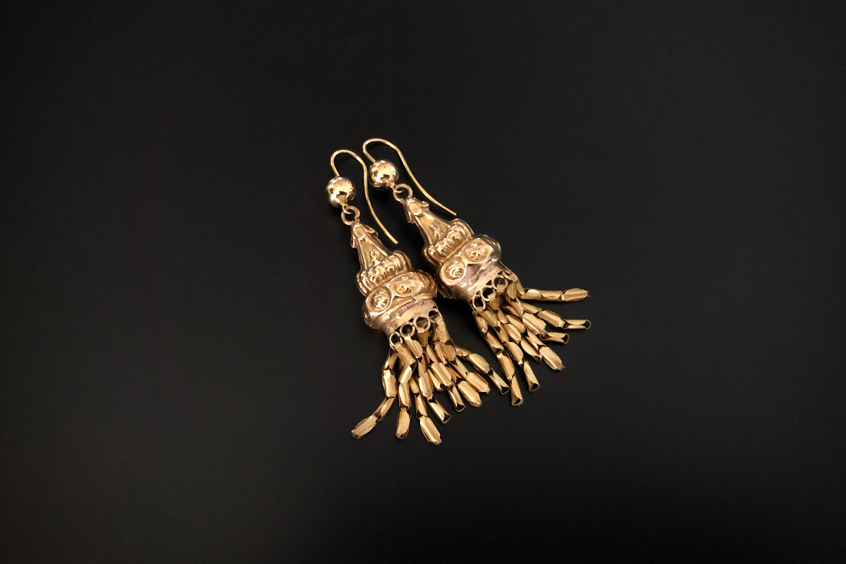 A Magnificent Pair of French Gold Drop Earrings