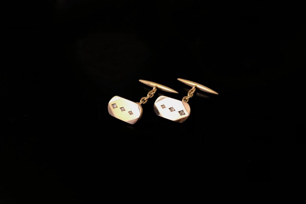 A Stylish Pair of Gold and Diamond Cufflinks