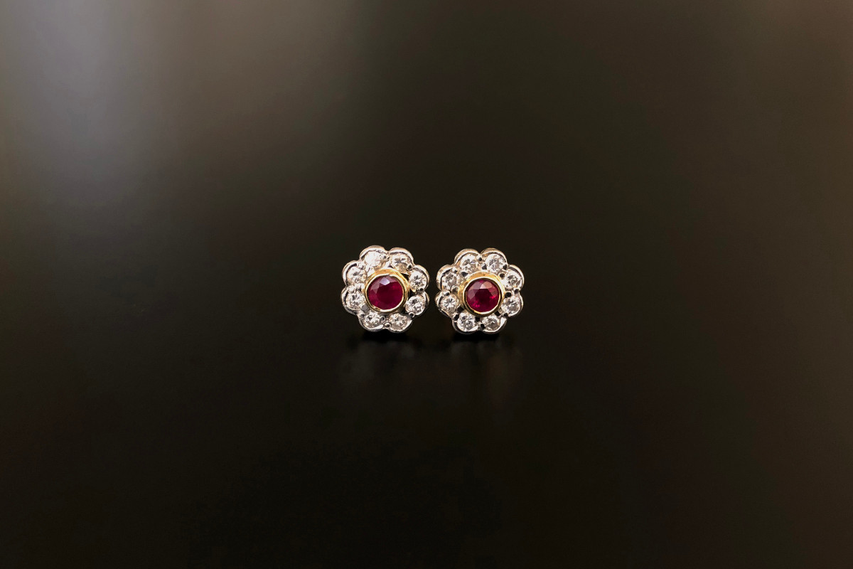 An Elegant Pair of Ruby and Diamond Cluster Earrings