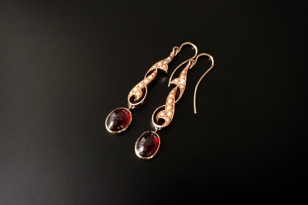 A Pair of Naturalistic Garnet, Pearl and Gold Drop Earrings
