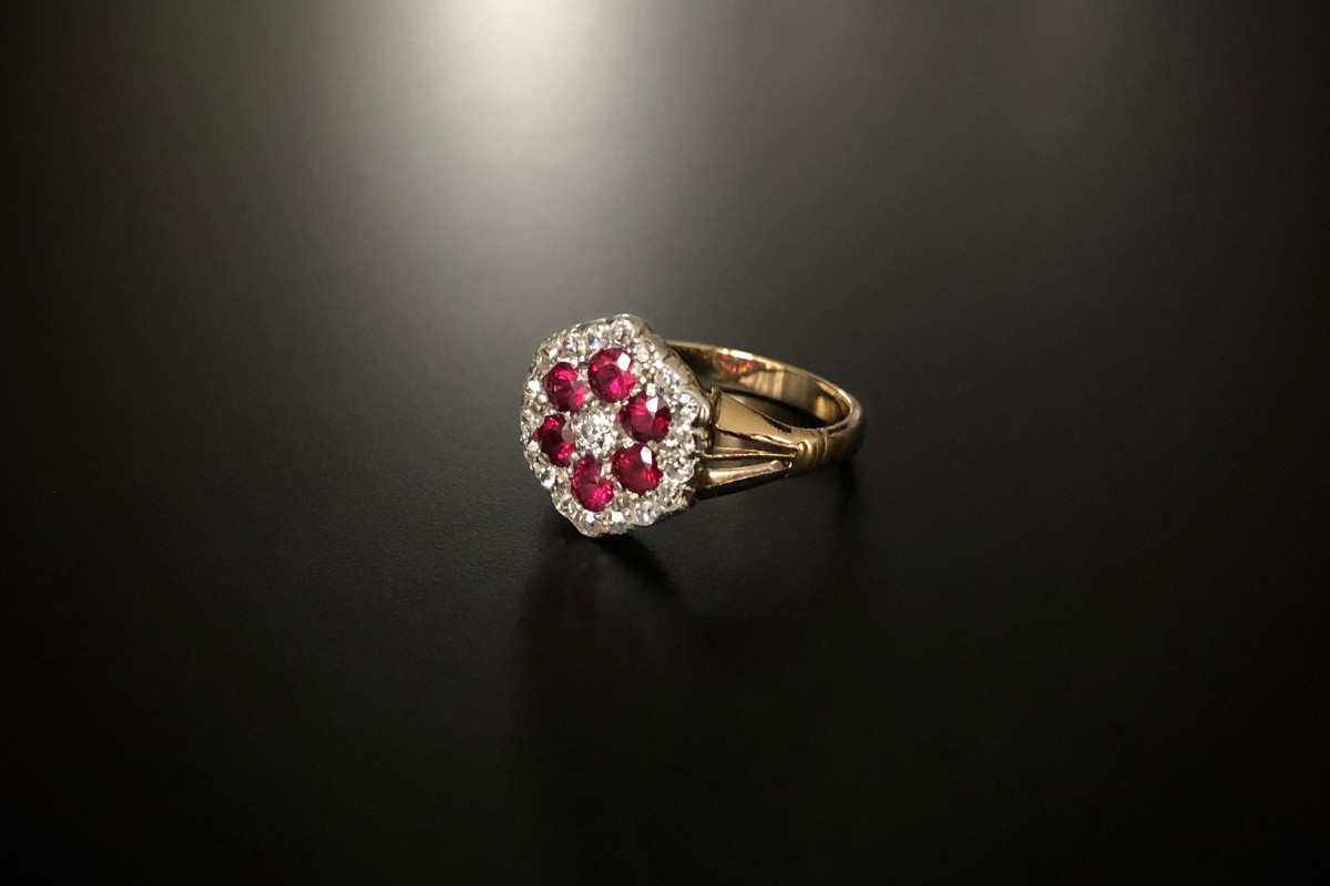 A Lovely Ruby and Diamond Cluster Ring