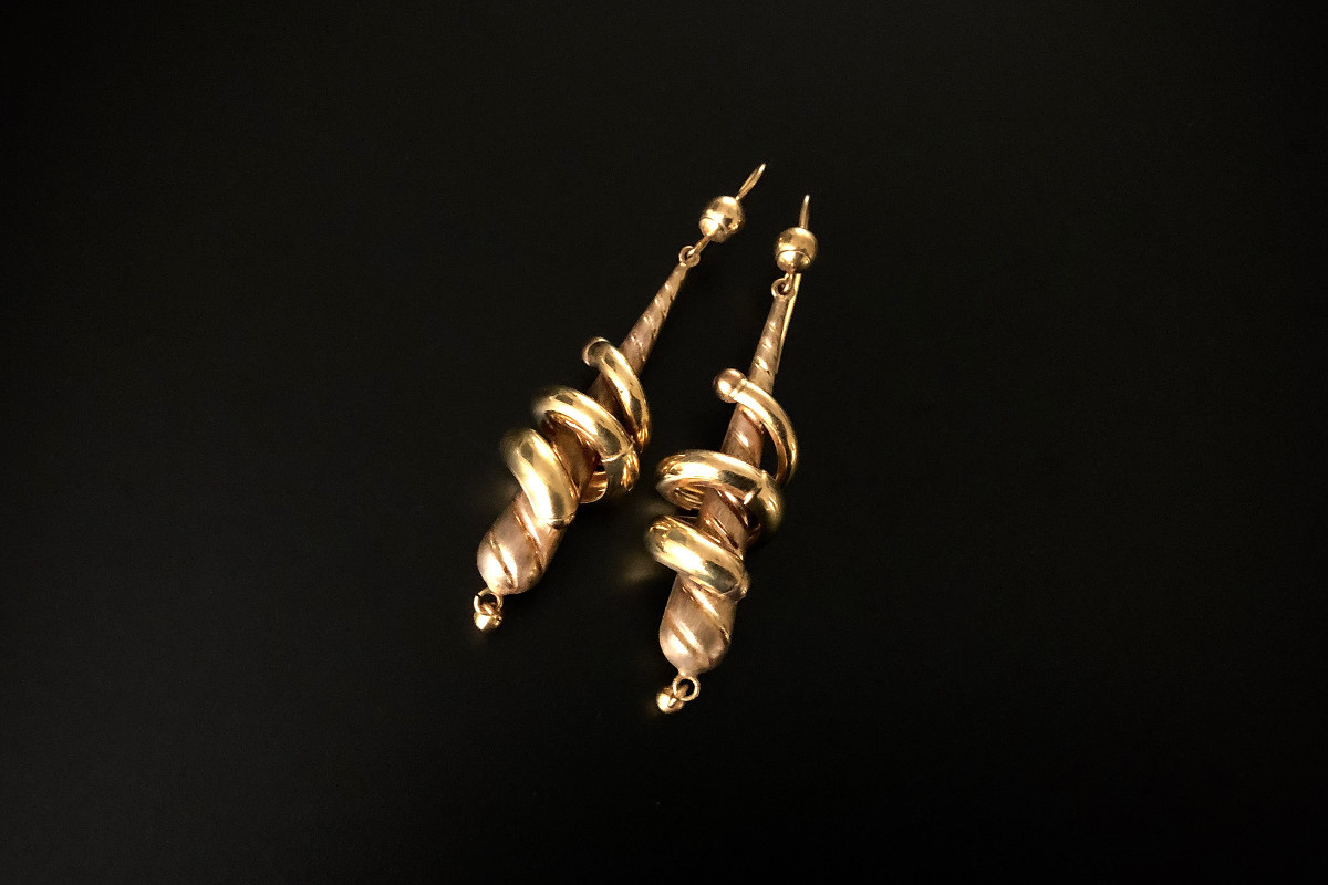A Bold Pair of Gold Drop Earrings