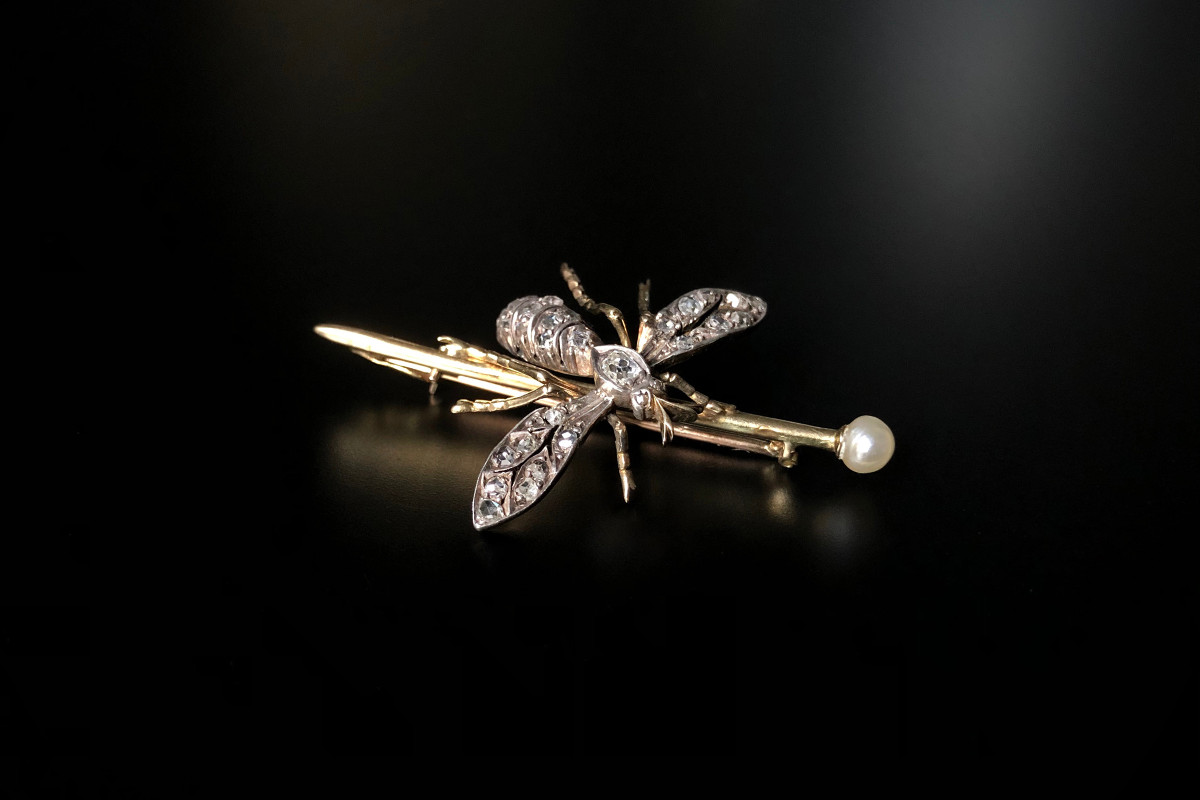 A Striking Diamond and Gold Insect Brooch
