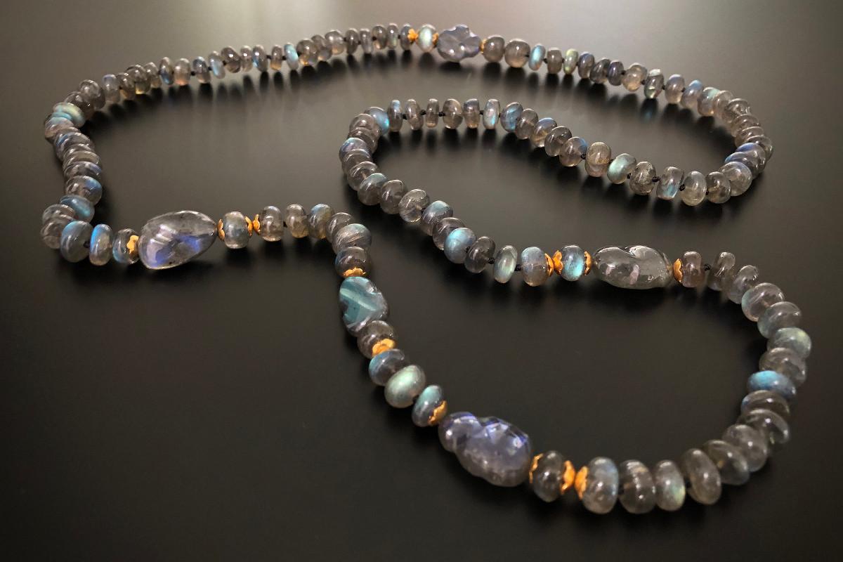 An Iridescent Labradorite Bead Necklace