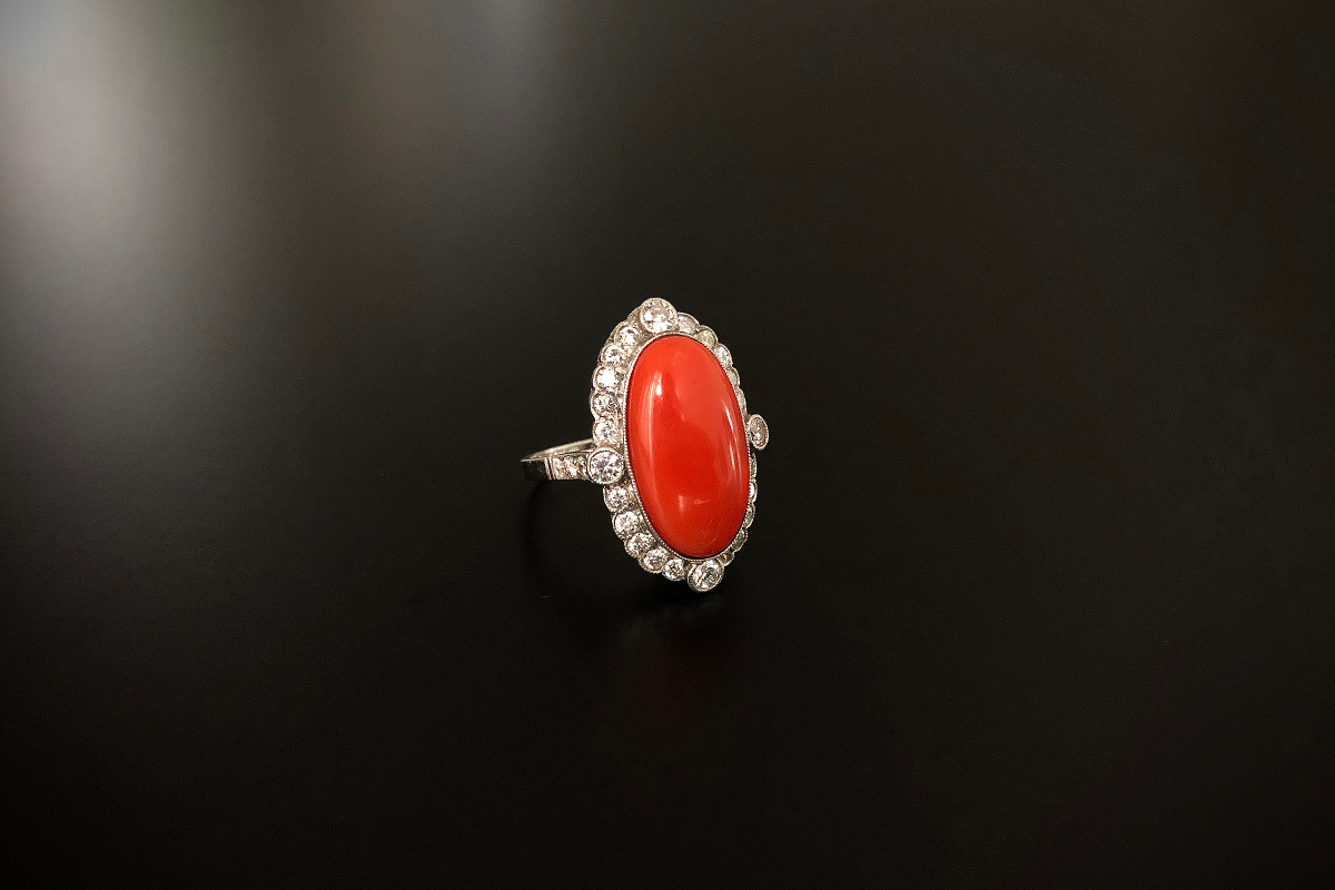 A Fabulous Coral and Diamond Cluster Ring