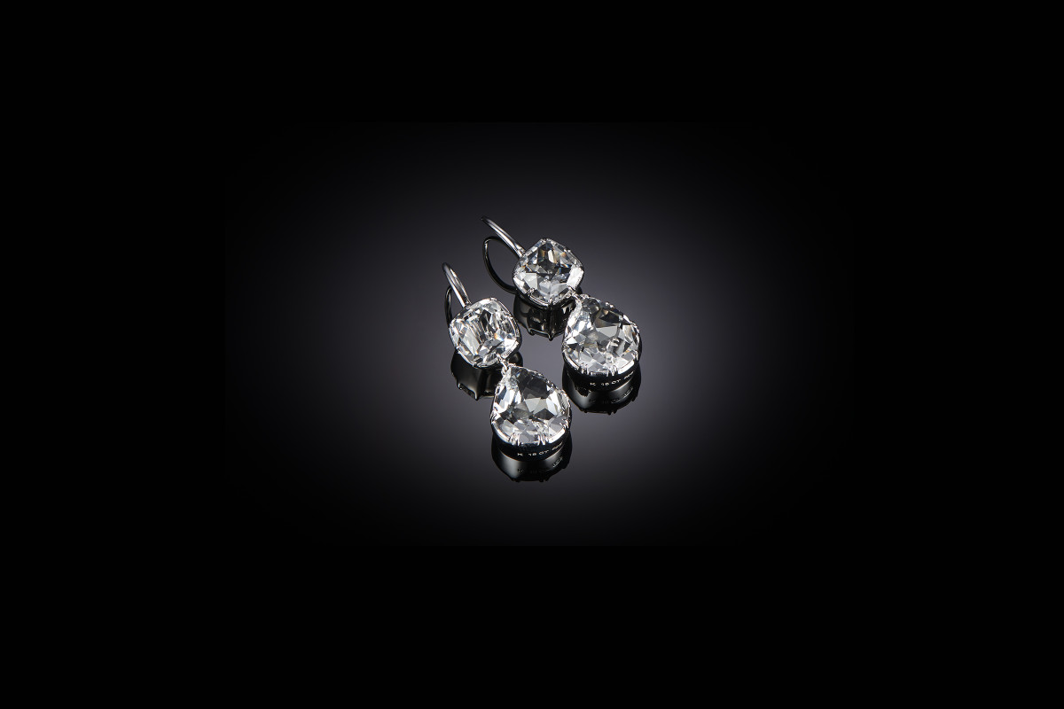 Kozminsky Pear and Cushion Cut Rock Crystal Earrings. Hook Fitting. Sterling Silver and Rhodium Plated 32mm