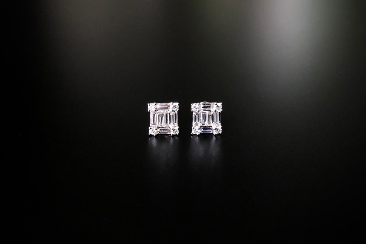Diamond Baguette Cluster Stud Earrings