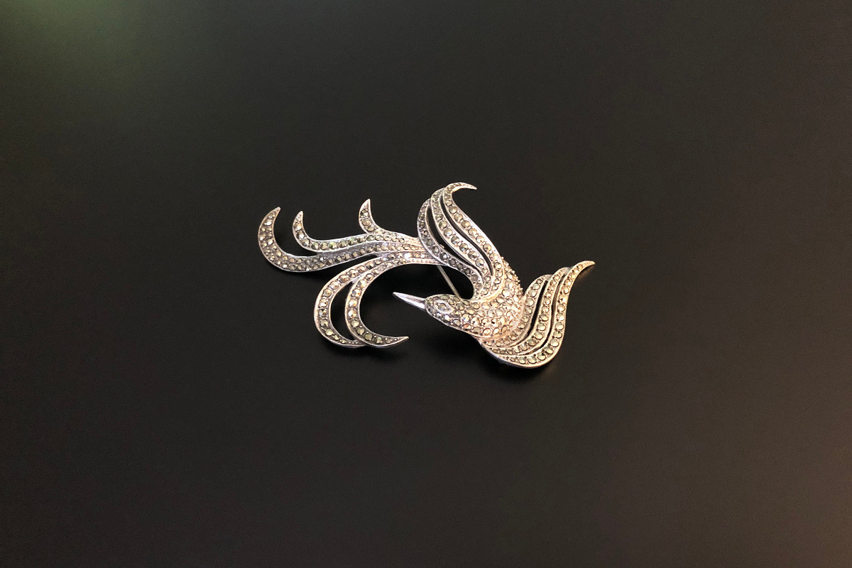 Silver and Marcasite Bird Brooch