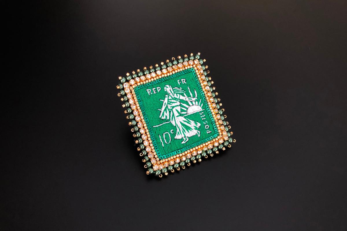 Emerald Postage Stamp by Celeste Mogador Silk thread, crystal beads, Miyuki, sequins and strass.  60 x 55mm. Handmade.