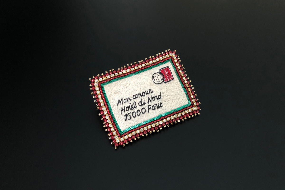 Mon Amour Hotel du Nord brooch by Celeste Morgador Silk thread, crystal beads, Miyuki, sequins and strass.  80 x 60mm. Handmade.