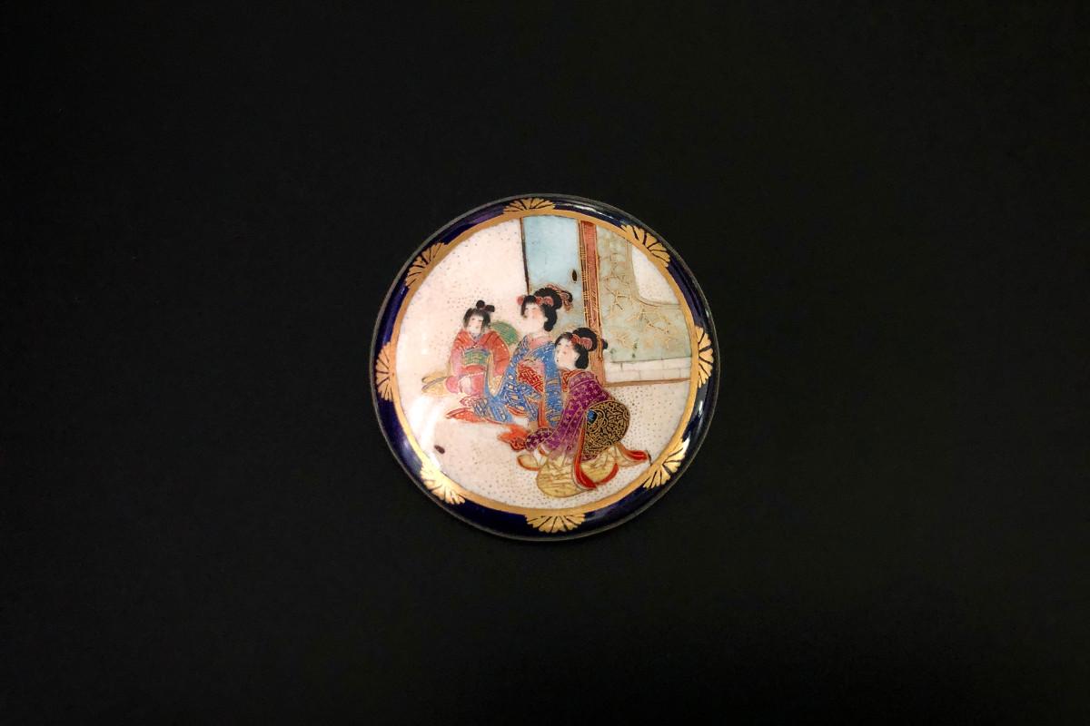 A Wonderful Satsuma Brooch Circular form Handpainted  Depicting three Japanese women in traditional dress 50mm  Meiji period