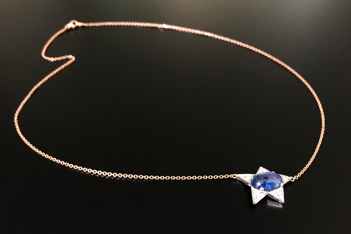 Retro Sapphire and Diamond Star Pendant. Stylised star design set with a central oval cabochon sapphire Five radiating triangular panel each set with an Old European Cut diamond. Cabochon sapphire weight: 3.00cts. (N) Approximate diamond weight:? Platinum setting. c1950. 18ct Rose gold chain Total weight: 6.03gms Total length: 56cm An inspired necklace conversion.