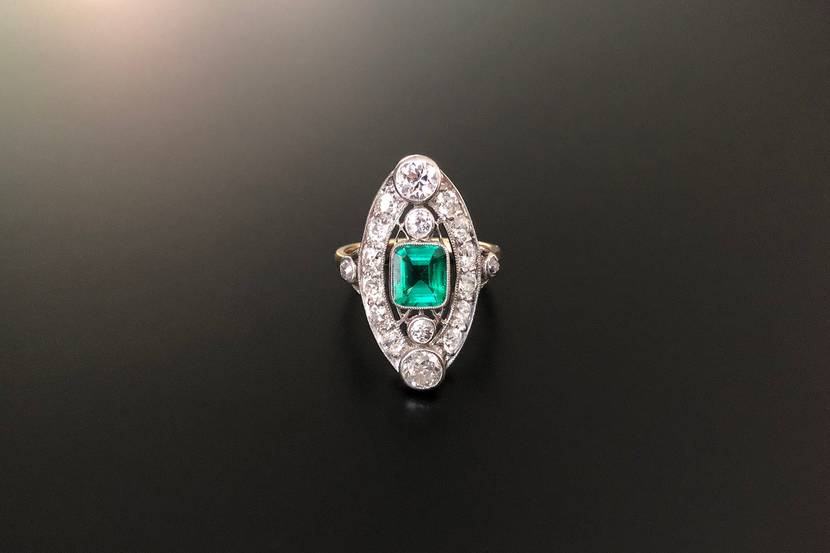 A Stunning Belle Époque Diamond and Emerald Ring