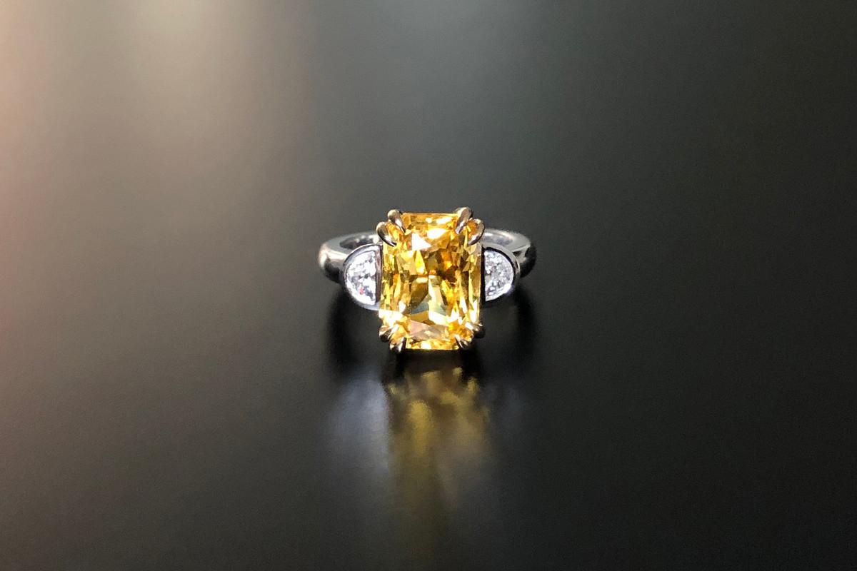 A Kozminsky Natural Yellow Ceylon Sapphire and Diamond Ring
