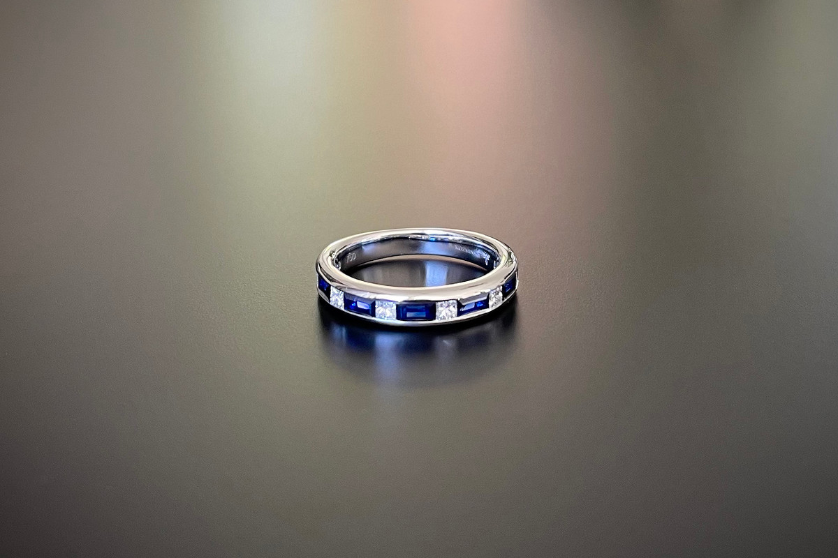 A Sapphire and Diamond Eternity Band