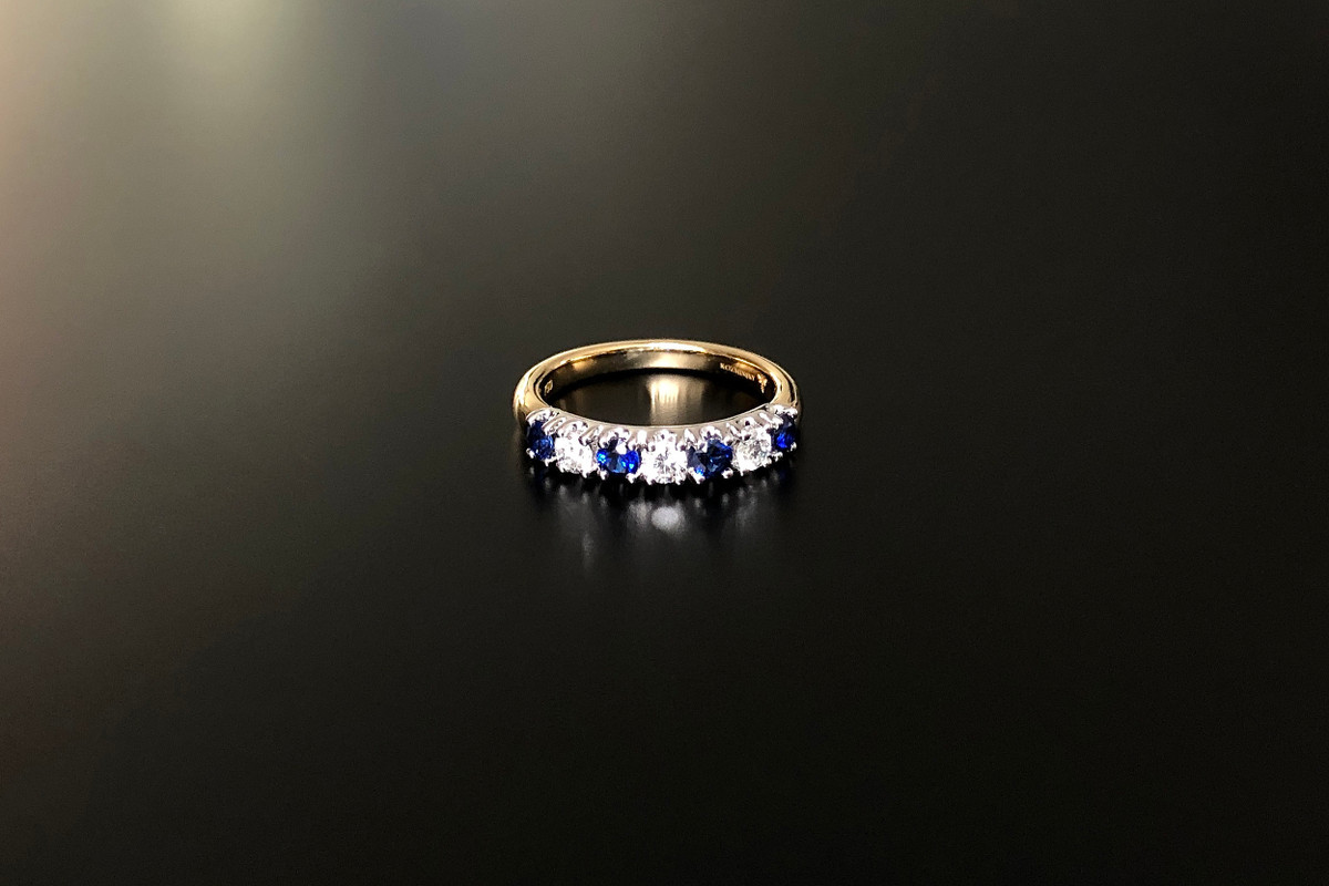 A Classic Diamond and Sapphire Anniversary Ring
