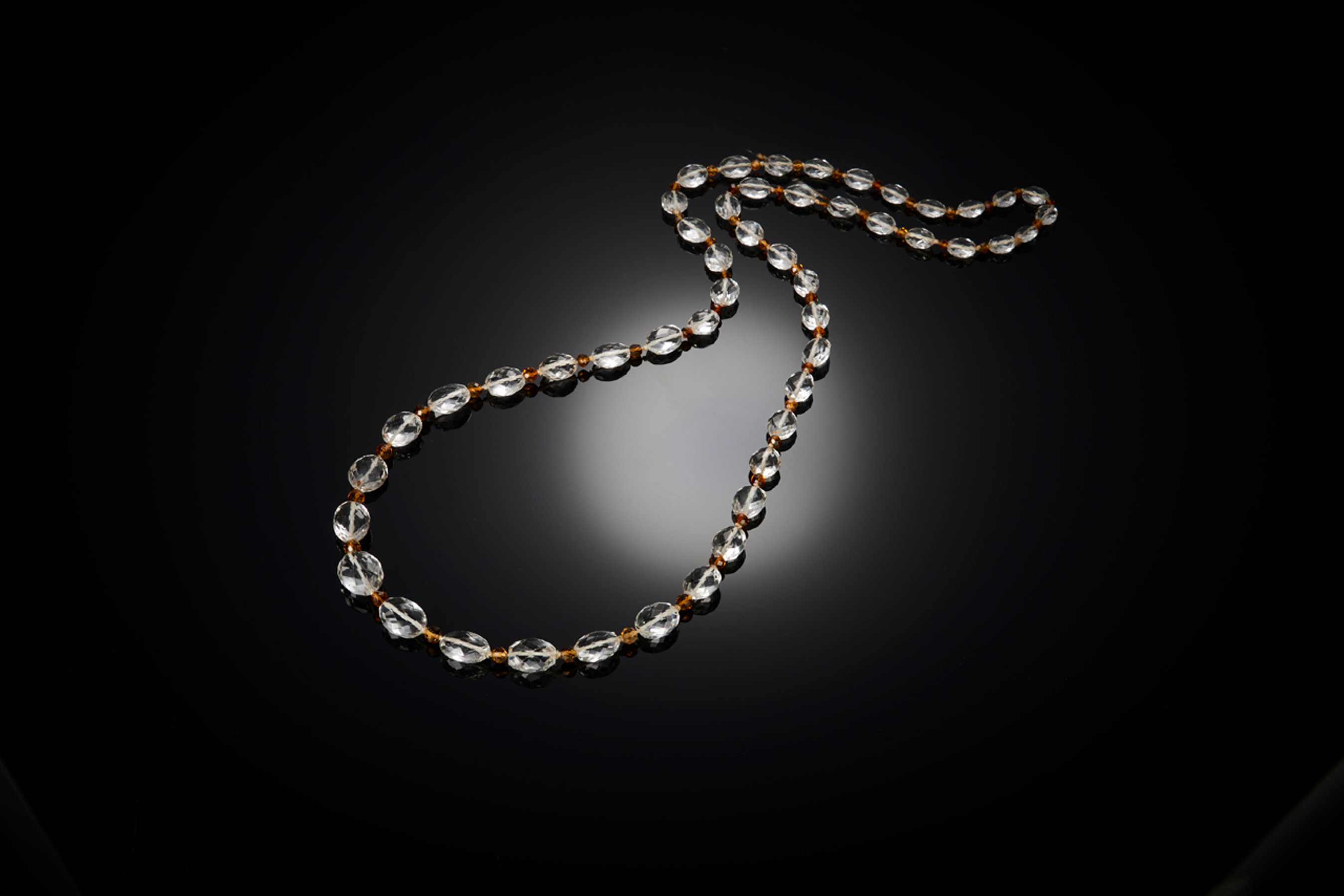 Strand of Faceted Crystal and Citrine Beads Necklace