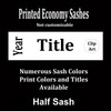 """Half Sash - Stock Titles - 36"""" or 42""""  size.  Single Satin ribbon with year, title and clip art."""
