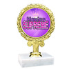 """3 3/4"""" Title trophy.  Choice of title.  Includes free engraving.  Base is 2""""x2"""" marble. Great for side awards!"""
