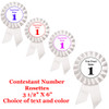 White Contestant Numbers Rosettes.  Set of 10.   Customize with your event name or text.