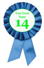 Blue Contestant Numbers Rosettes.  Set of 10.   Customize with your event name or text.