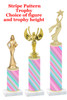 Stripe  pattern  trophy with choice of trophy height and figure (013