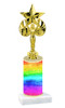 Rainbow  pattern  trophy with choice of trophy height and figure (018