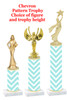 Chevron  pattern  trophy with choice of trophy height and figure (028