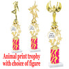 """Custom Trophy.  Animal Print column with choice of figure and trophy height.  Height starts at 14"""".  Upload your logo or custom art work.  (mr200-007"""