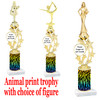 """Custom Trophy.  Animal Print column with choice of figure and trophy height.  Height starts at 14"""".  Upload your logo or custom art work.  (mr200-008"""