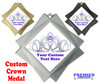 "Custom Crown medal.  3"" Diamond medal with your custom text. 002"