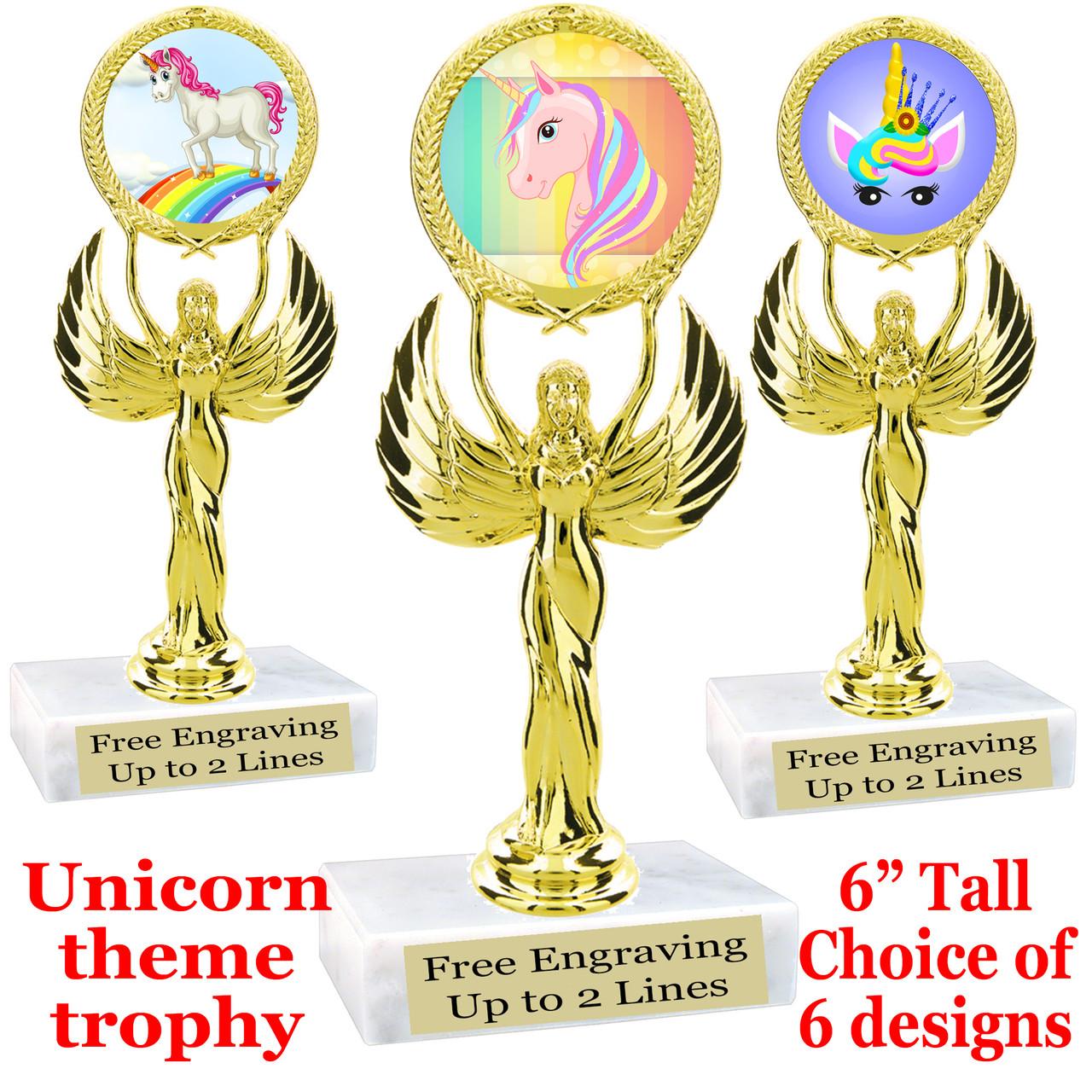 Unicorn theme trophy 6 tall trophy with unicorn art work.