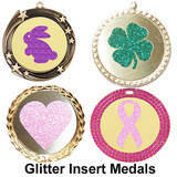 Glitter insert medals