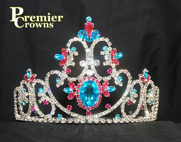"""Gorgeous 4"""" tiara with side combs.  SH-7000  (a32)"""