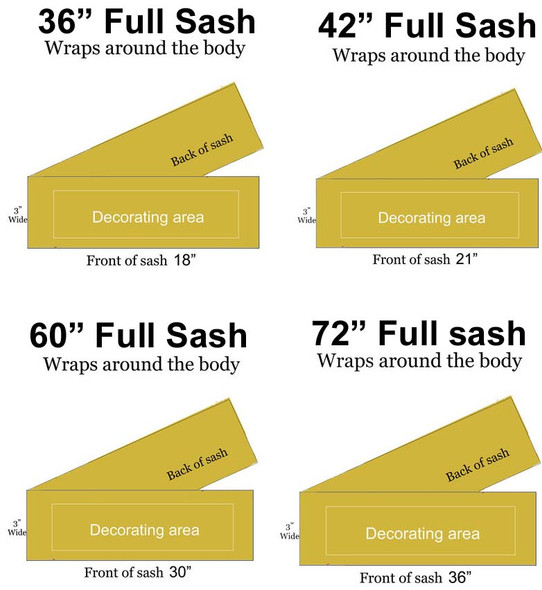 CUSTOM FULL SASH - 4 sizes available.  Single satin ribbon with clip art,  2 lines of shoulder text and  2 lines of main text