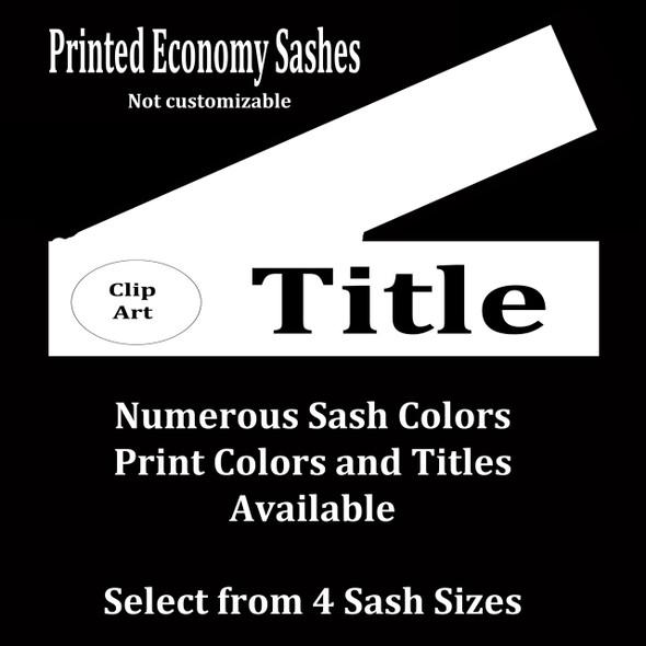 FULL SASH Stock titles  - 4 sash sizes.  Single satin ribbon with clip art and title