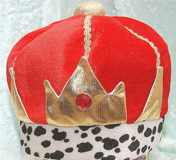 "Velvet material crown.  Height is approx. 8"" and diameter is approx. 7"""