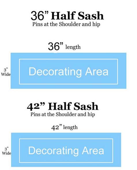 "CUSTOM  HALF SASH   36"" OR 42"" .  Single satin ribbon with clip art, 2 lines custom text and hip text"