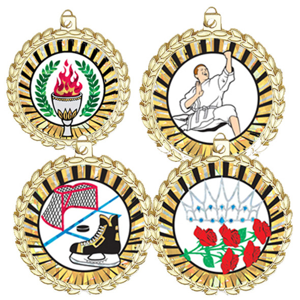 """2"""" Bright Gold Medal with choice of insert.  Includes free back of medal engraving and neck ribbon"""