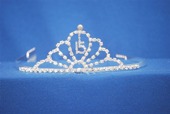 "Beautiful Quinceanera crown with side combs. 2"" tall"