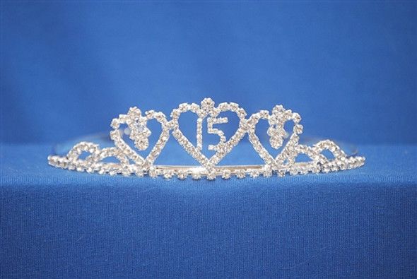 """Beautiful Quinceanera crown with side combs. 1.25"""" tall"""